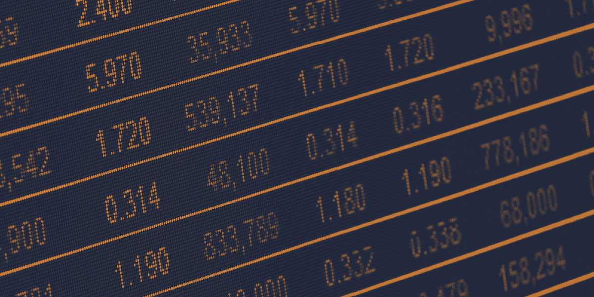 Image of stock exchange values on a screen